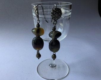 Beautiful Georgian earrings, silver and agate, antique jewels-Beautiful Georgian earrings, silver and agate, antique jewelry