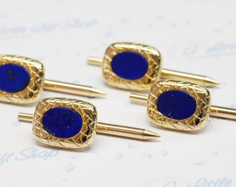 "Vintage Collection: Rectangular w/ ""Snake Skin"" Gold Textures ~ Blue Lapis Tuxedo Studs in 14K Yellow Gold ~ 4pcs in Set ~Nice Quality Lapis"