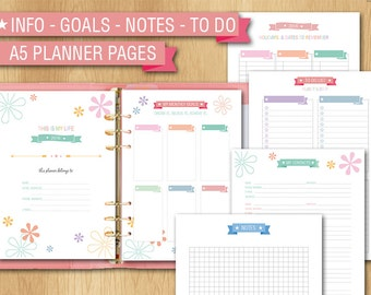 Info - goals - contacts - to do list - notes pages - A5 size