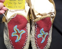 Antique Pair of Beaded Moccasins with Star Design.  Native American Moccasins-Pacfic-Northwest-Spokane-Tribe-WA (Circa 1890-1920)