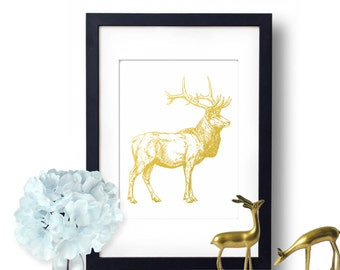 Elk Print, hunting art, Gold Foil print, Elk Art, Hunting decor, Nature Gift Idea, Elk Poster, nature print