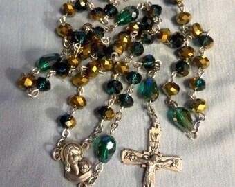 Rosary, Catholic rosary, Rosary beads, prayer beads, Aqua Crystals, Catholic prayer