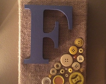 Burlap Letter with Vintage Buttons - 5x7 inch