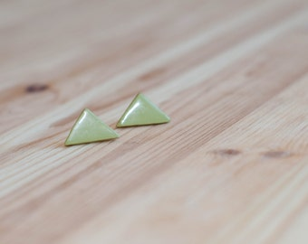 Olive green earrings, Triangle stud earrings, Olive earrings, Green stud earrings, Green triangle earrings, Olive green stud earrings
