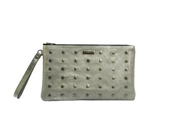 Silver leather clutch, Silver clutch, Rivet clutch