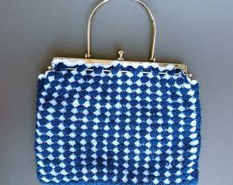 knitted vintage handbag with bow lock, 50 or 60 years, sweet vintage bag, bow bag