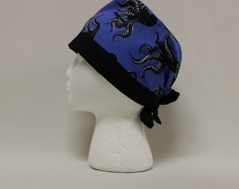 Black and Blue Octopus Surgical Scrub Cap Chemo Dentist Hat