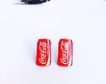Coca cola can studs / Coca cola earrings / Coca cola studs / Coca cola jewelry / Coke jewellery / Coke stud earrings / Funny gift idea