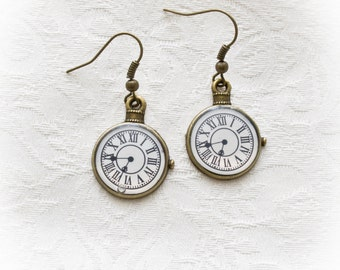 Steampunk  clocks   hook earrings-Hook earrings-Steampunk jewelry-Vntage earrings-jewelry