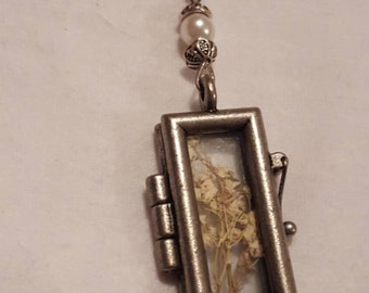 Pressed dried babys breath pendant necklace
