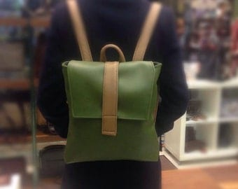 Green and Tan Backpack