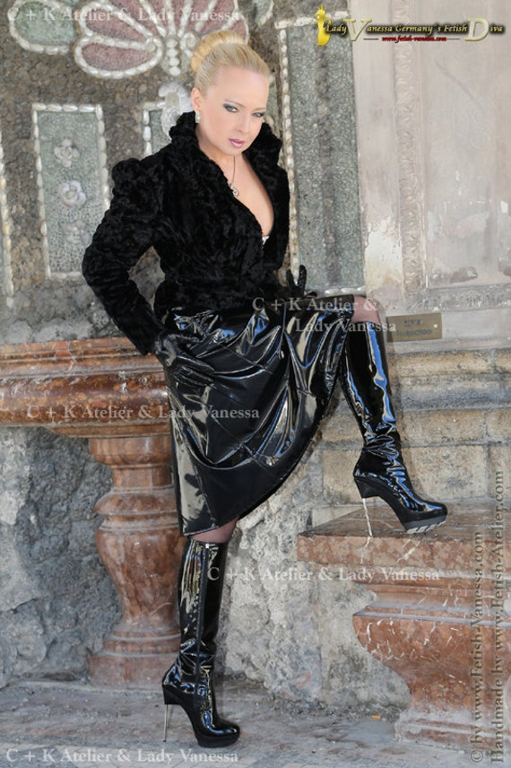 ck flared skirt a line skirt pvc or imitation leather with