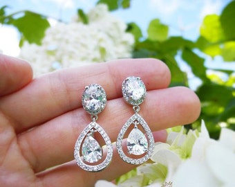 Teardrop wedding earrings Bridal earrings Crystal Wedding earrings Bridal jewelry Bridesmaid gift Bridesmaid  jewelry Zirconia earrings