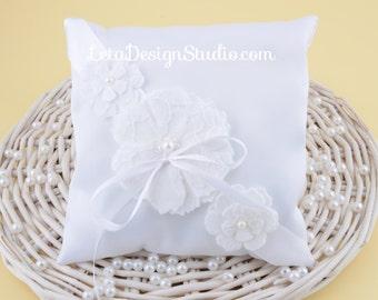 Ring bearer pillow with handmade flower made from felt and lace Flower ring pillow Flower girl ring Wedding ring pillow ideas
