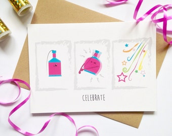 New years eve party, Celebration Party popper card, Congratulations, well done, good job, celebrate, life event A5 greetings card 2017,