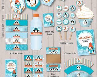 PENGUIN BIRTHDAY INVITATION and Party Decoration - Full Printable Penguin Party Package – Instant Download, Edit Text in Adobe Reader