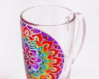 Mandala Mug, Rainbow Mug, Mosaic Mug, Boho Mug, Psychedelic Mug, Custom Mug, Personalized Mug, Multi Colored Mug, Hand Painted Mug