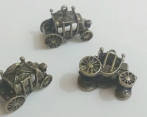 3x carriage pendant silver 21 mm charm findings supplies car vehicle transportation transport