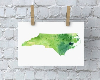 North Carolina Watercolor Map - Giclée Print of Hand Painted Original Art - 5 Colors to Choose From