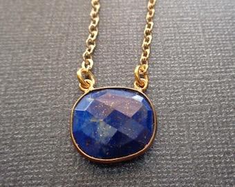 Lapis Lazuli Necklace / Gold Natural Lapis Bezel /Freeform Lapis Gold Necklace / Dark Blue Stone Necklace / BE18