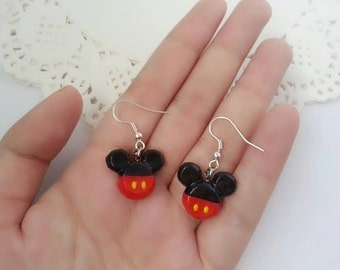 Mickey Mouse Inspired Earrings - Polymer Clay Charm, Disney Earrings, Stud Earrings, Polymer clay Disney