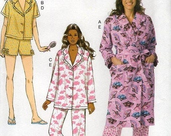 FREE US SHIP Butterick 6145 Pajamas Robe Ruffle Shorty short Pj's Size 16-26 Bust 38 40 42 44 46 48 Sewing Pattern (Last size left)
