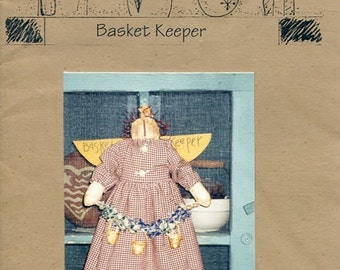 FREE US SHIP Lizzie's Home Spun Primitive Folk Art Doll Basket Keeper Angel Old Store Stock Sewing Pattern Ragdoll cloth