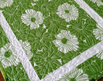Green Quilted Table Runner Topper Spring