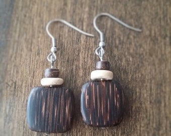 Pierced ears wood and nuts , natural earrings , nature, earth, coconut wood, palm wood