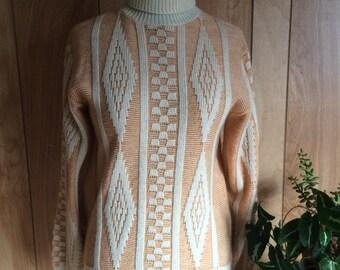 Vintage 1970's Orange and White Diamond Ski Turtleneck Sweater Women's L