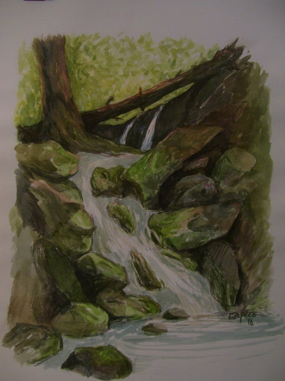 Woodland Waterfall,16x20 Original Watercolor Painting,One of a Kind,Not a Print,Free shipping Code SKYE2