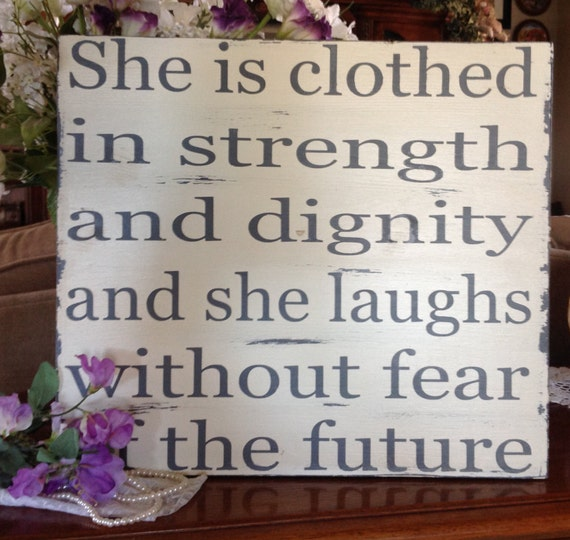 She Is Clothed With Strength And Dignity And She Laughs: She Is Clothed In Strength And Dignity Bible Verse Nursery