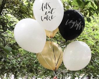 Calligraphy Balloons / Party Supplies / Cake / Congratulations / 12 inch balloon /