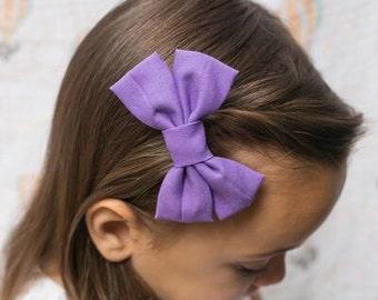 Purple Bow - Purple Girls Hair bow - Purple Hair Bow - Purple Fabric Hair Bow - Purple Bow Hair Clip - Fabric Hair Bow - Nylon headband