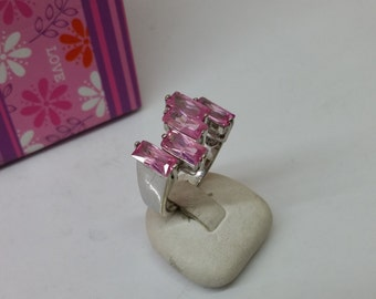 Ring 925 Silver with pink crystals vintage SR632