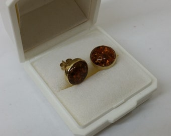 Stud Earrings round gold 333 amber SO104