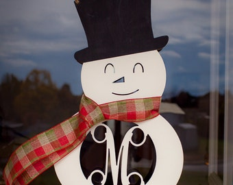 Door Hanger – Snowman with Initial – Personalized Door Hanger – Christmas Décor – Winter Home Décor