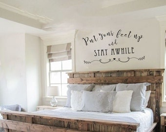 Stay Awhile Decal Etsy - How do i put up a wall sticker