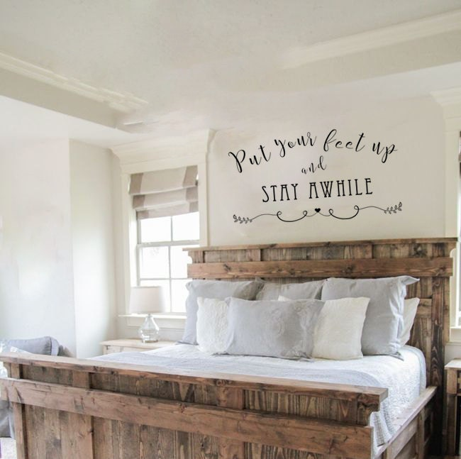 Vinyl Wall Decal Put Your Feet Up Stay Awhile Decal Vinyl - How do you put up a wall decal