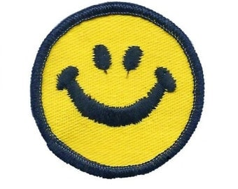Mini Smiley Face Patch - Happy Face, Smile (Iron on)