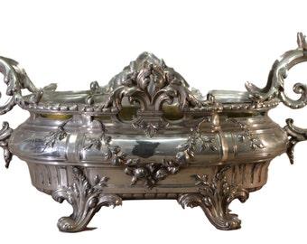Art Nouveau français Jardiniere. Ancienne pièce maîtresse. Grande fleur Vase. Pot cache français romantique