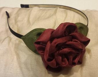 Red Rose fabric flower headband