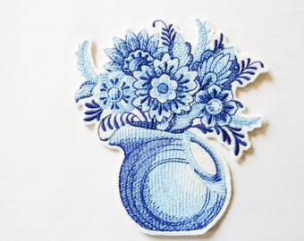 Blue vase and flowers machine embroidery