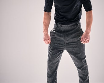 Modern Charcoal Trousers / Loose Bottom Wool Pants / Futuristic Asymmetric Trousers / Drop Crotch Mens Trousers/Mens Pants/Menswear by POWHA