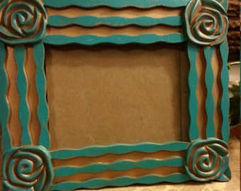 Aqua Picture Frame, Painted and Distressed Aqua Picture Frame, Aqua Frame