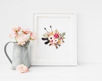 PRINTABLE Art Floral Arrow Feather, Floral Art , Floral nursery decor, Boho wall art, floral printable, boho decor, watercolor floral art