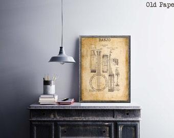 Banjo Patent Print| Gift for Music Teacher| Music Room Decor| Music Instrument Patent Print| Music Poster