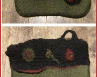 ON measuring sleeve felted Tote (cheques, invoices) Merino Wool hand - pencil case - bag cosmetic-
