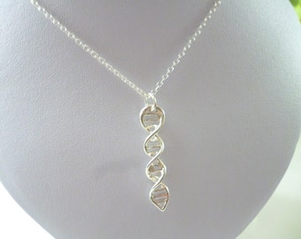 """Magnifique Pendentif ADN & Chaîne argent /DNA Sterling Silver Pendant + 16"""" chain /  Chimie, Science anneau, l'anneau de la molécule"""