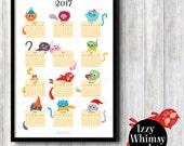2017 Wall Calendar, Cat, Calendar poster, cat lover, illustration, gift ideas, wall decor, office decor, stationery, paper goods